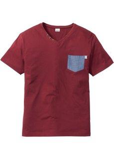Футболка Regular Fit с нагрудным карманом (бордовый) Bonprix