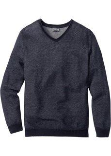 Пуловер Regular Fit с V-образным вырезом (темно-синий меланж) Bonprix