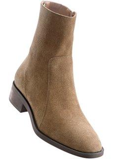 Кожаные ботинки (серо-коричневый) Bonprix