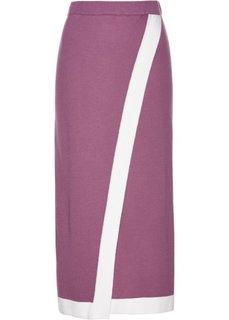 Вязаная юбка (матовый ягодный/белый) Bonprix