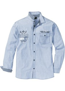 Рубашка Regular Fit с длинным рукавом (нежно-голубой меланж) Bonprix