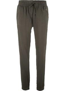 Непринужденные брюки с эластичным поясом (темно-оливковый) Bonprix