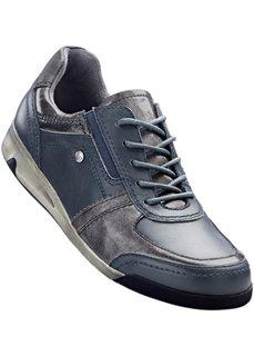 Удобные кожаные кроссовки (темно-синий/серебристый) Bonprix
