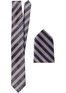 Набор: галстук + карманный платочек в полоску (черный в полоску) Bonprix