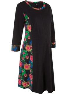 Платье для беременных, рукав 3/4 (черный с рисунком) Bonprix