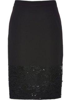 Юбка с кружевной отделкой (черный) Bonprix