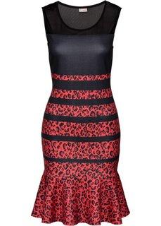 Платье с леопардовым принтом (красный/черный с узором) Bonprix