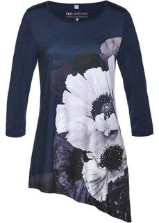 Удлиненная футболка (темно-синий/натуральный камень/белый) Bonprix