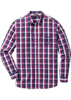 Клетчатая рубашка Regular Fit с длинным рукавом (красная ягода/синий в клетку) Bonprix
