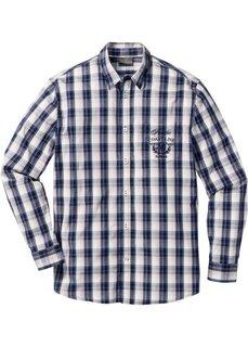 Клетчатая рубашка Regular Fit с длинным рукавом (синий/бежевый в клетку) Bonprix
