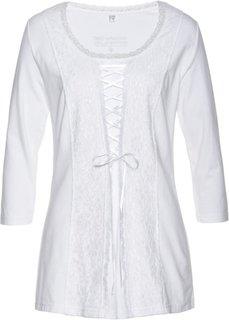 Кружевная футболка на шнуровке (белый) Bonprix