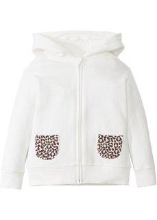 Трикотажная куртка с капюшоном (кремовый/леопардовый с принтом) Bonprix