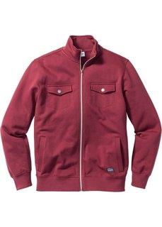 Трикотажная куртка Regular Fit с карманами (бордовый) Bonprix