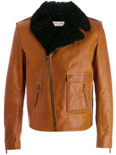 кожаная куртка с оторочкой из овчины Saint Laurent