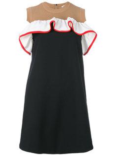платье шифт с трикотажной вставкой  MSGM