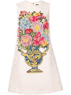 жаккардовое платье с цветочной вышивкой Dolce & Gabbana