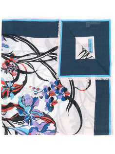 шарф с цветочным принтом и бахромой  Emilio Pucci
