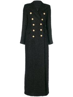длинное двубортное пальто Balmain