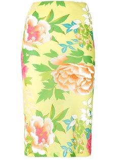 полупрозрачная юбка с цветочным принтом  Kenzo Vintage