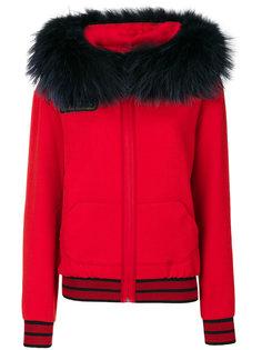 fur trim printed hoodie Mr & Mrs Italy