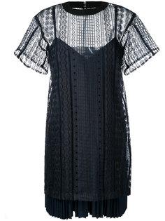 многослойное платье с вышивкой  Sacai