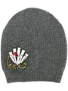 декорированная трикотажная шапка  Nº21