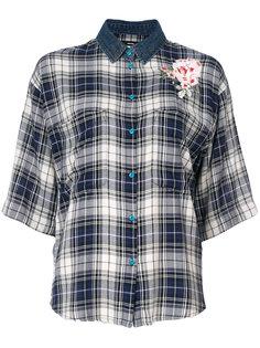 рубашка в клетку с цветочной аппликацией Diesel