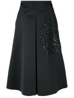 расклешенная юбка с вышивкой и пайетками  Rochas