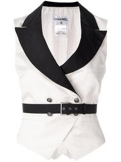 монохромная жилетка с поясом Chanel Vintage