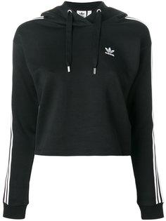 укороченная толстовка с капюшоном с тремя полосками Adidas Originals