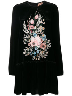 бархатное платье с цветочной вышивкой Nº21