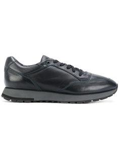 кроссовки со шнуровкой и простроченной отделкой Santoni
