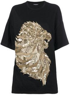 футболка с тисненым узором льва  Balmain