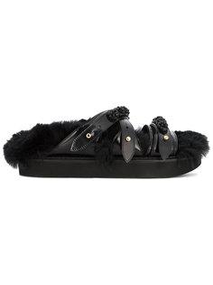 сандалии со стелькой из искусственного меха с бусинами Simone Rocha