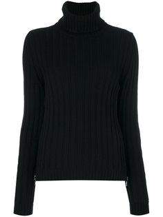 свитер-водолазка в рубчик с боковой молнией  Moschino