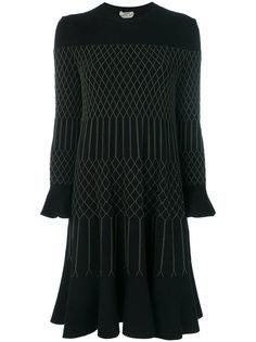 расклешенное платье с вышивкой  Fendi