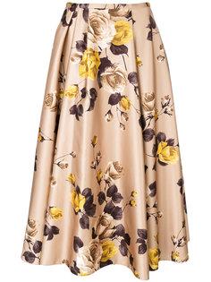 юбка с цветочным принтом и складками  Rochas
