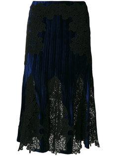 плиссированная юбка с кружевной вставкой  Jonathan Simkhai