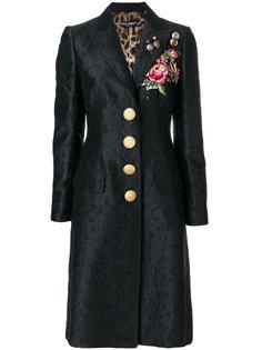 жаккардовое пальто с вышивкой  Dolce & Gabbana