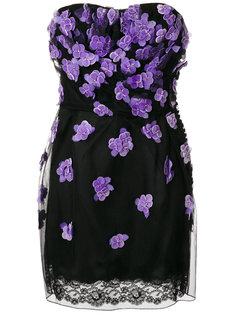 платье с цветочной аппликацией без бретелек Christian Dior Vintage