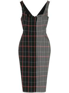 платье в клетку с драпировкой  Victoria Beckham