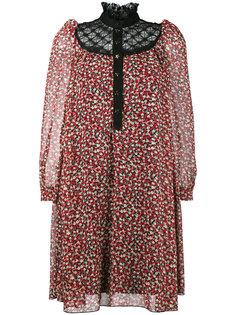 платье-мини с цветочным принтом и кружевным воротником Philosophy Di Lorenzo Serafini