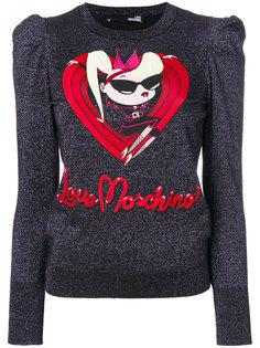 топ со сборками на плечах и блестками Love Moschino