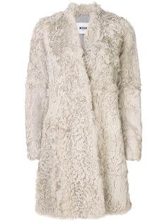пальто с мехом ягненка MSGM