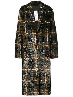 объемное пальто в клетку с пайетками Ashish