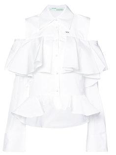 рубашка с оборками и открытыми плечами Off-White