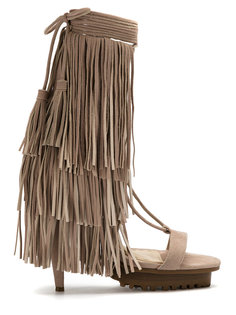 leather fringe sandals Andrea Bogosian