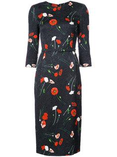 платье миди с поясом и цветочным принтом Oscar de la Renta