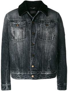 джинсовая куртка с кожаным воротником Saint Laurent