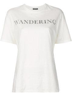 футболка с принтом логотипа Wandering
